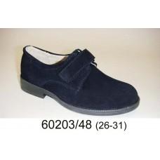 Boys' dark blue suede school shoes, model 60203-48