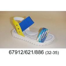 Girls' blue leather sandals, model 67912-621-886