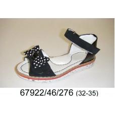 Girls' black leather sandals, model 67922-46-276