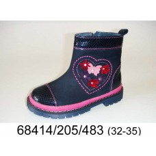 Girls' blue leather boots, model 68414-205-483