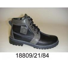 Kids' black leather boots, model 18809-21-84