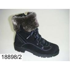 Kids' black nubuck warm boots, model 18898-2