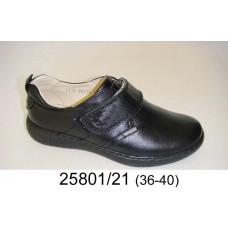 Kids' black leather velcro shoes, model 25801-21