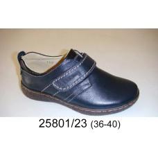 Kids' dark blue leather school shoes, model 25801-23