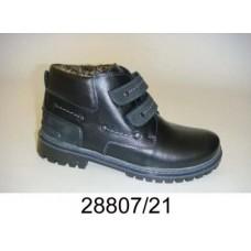 Kids' black leather velcro boots, model 28807-21