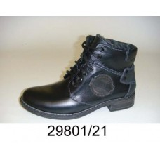 Kids' black leather combat boots, model 29801-21