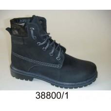 Kids' black nubuck combat boots, model 38800-1
