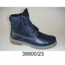 Kids' blue leather combat boots, model 38800-23