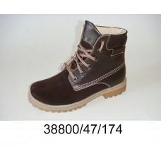 Kids' brown suede combat boots, model 38800-47-174