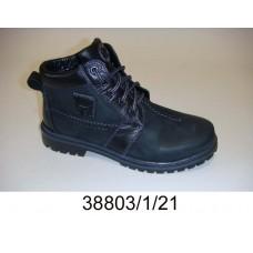 Kids' black nubuck laced boots, model 38803-1-21