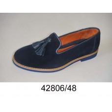Kids' blue suede tassel-loafers shoes, model 42806-48