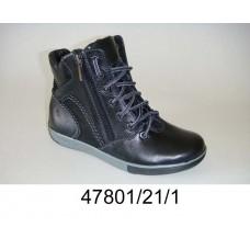 Kids' black leather zip boots, model 47801-21-1