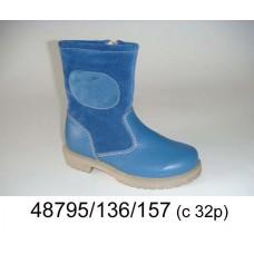 Kids' blue light leather boots, model 48795-136-157