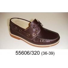 Kids' brown leather top-sider, model 55606-320