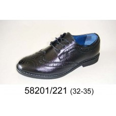 Kids' black leather oxford shoes, model 58201-221