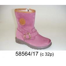Kids' pink nubuck warm boots, model 58564-17