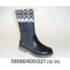 Kids' leather warm boots, model 58566-600-221