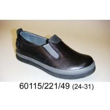 Kids' black leather comfort shoes, model 60115-221-49