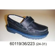 Kids' blue leather velcro shoes, model 60119-36-223