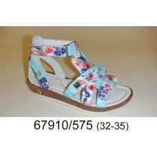 Girls' flowers print leather sandals, model 67910-575