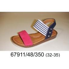 Girls' navy leather sandals, model 67911-48-350