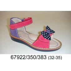 Girls' pink-purple leather sandals, model 67922-350-383