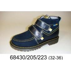Kids' blue leather velcro boots, model 68430-205-223