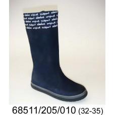 Kids' blue nubuck high boots, model 68511-205-010