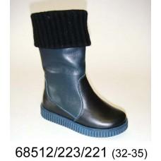 Kids' black leather warm boots, model 68512-223-221