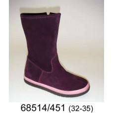 Kids' purple suede zip boots, model 68514-451