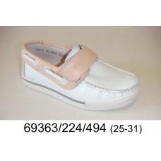 Kids' crème color leather velcro moccasins, model 69363-224-494