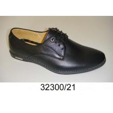 Men's black leather shoes, model 32300-21