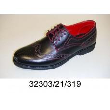 Men's black leather brogue, model 32303-21-319