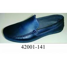 Men's dark blue leather moccasins, model, model 42001-141