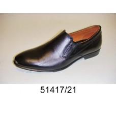 Men's black leather dress shoes, model 51417-21