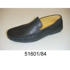 Men's black leather moccasins, model 51601-84