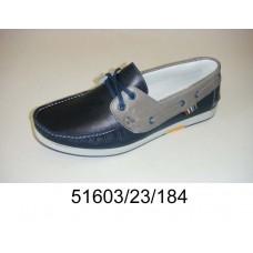Men's dark blue leather top-sider, model 51603-23-184