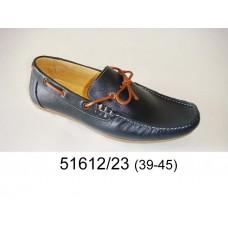 Men's black leather moccasins, model 51612-23
