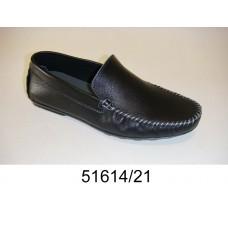Men's black leather moccasins, model 51614-21