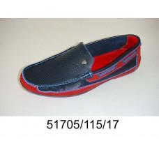 Men's blue red leather moccasins, model 51705-115-17