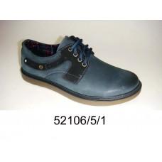 Men's blue-gray leather shoes, model 52106-5-1