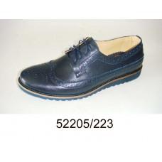 Men's blue-gray leather shoes, model 52205-223