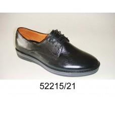 Men's black leather shoes, model 52215-21