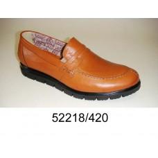 Men's brown light leather loafer shoes, model 52218-420