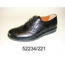 Men's black leather shoes, model 52234-221