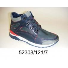 Men's blue leather boots, model 52308-121-7