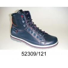 Men's blue leather boots, model 52309-121