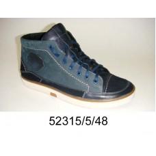 Men's navy blue leather boots, model 52315-5-48