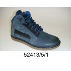 Men's blue leather boots, model 52413-5-1