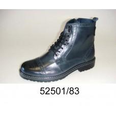 Men's dark blue leather brogue boots, model 52501-83